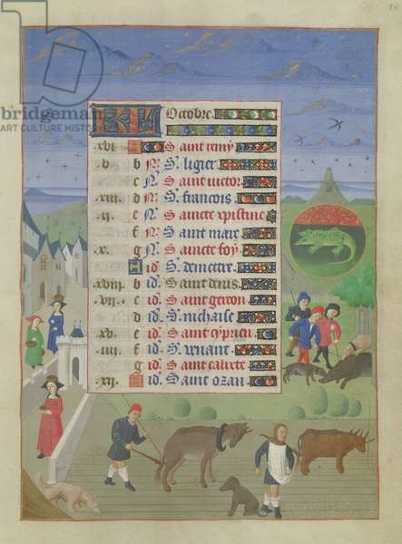 Ms 76/1362 fol.10r October: ploughing the fields, sowing seed and hunting wild boar, from the 'Hours of the Duchess of Burgundy', c.1450 (vellum)