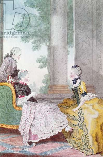 The Duchess of Gramont, Madame de Stainville and the Count of Biron, c.1762 (pencil, w/c & gouache on paper)