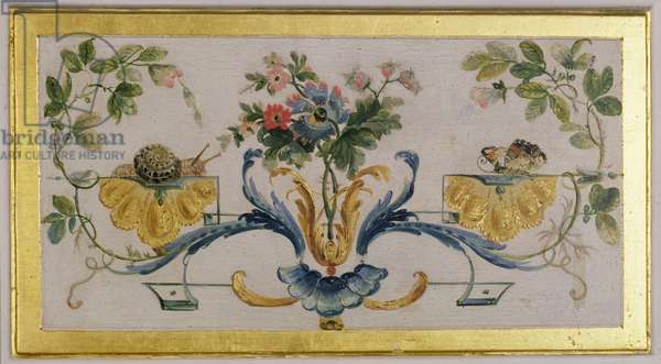 Snail and butterfly with flowers, from 'La Grande Singerie', c.1735 (mural)