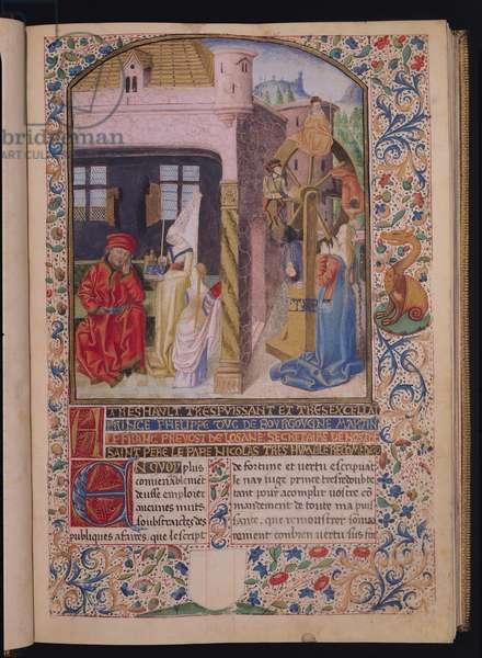 Ms 296/1512 The Wheel of Fortune, from 'L'Estrif de Fortune et Vertu' by Martin le Franc (vellum)