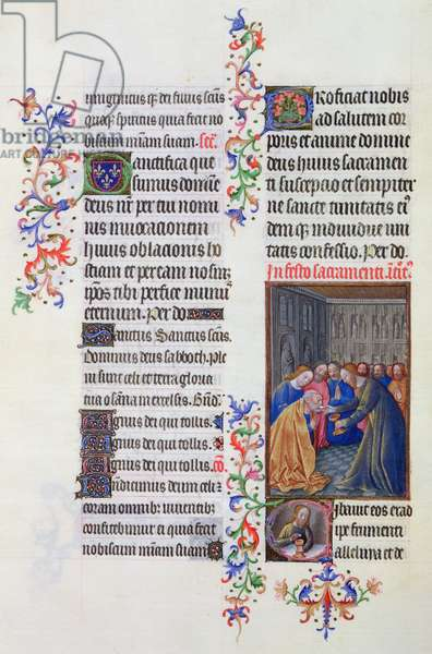 ms. 65/1284 fol. 189v, The Communion of the Apostles, from the 'Très Riches Heures du duc de Berry' (vellum)