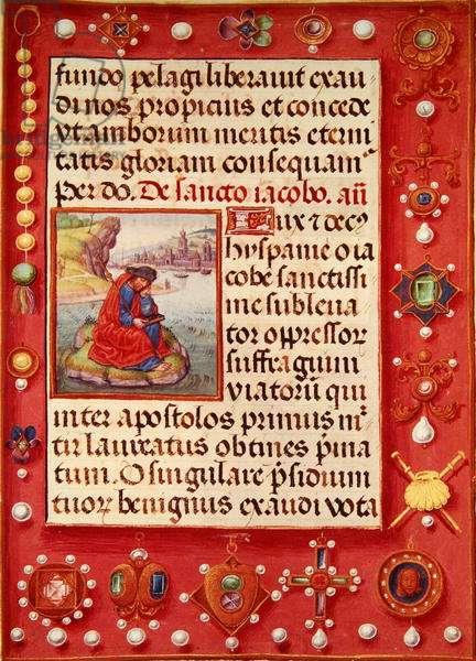 Ms 86/1178 St. James the Great, from 'Heures de La Tour et Taxis' (vellum)