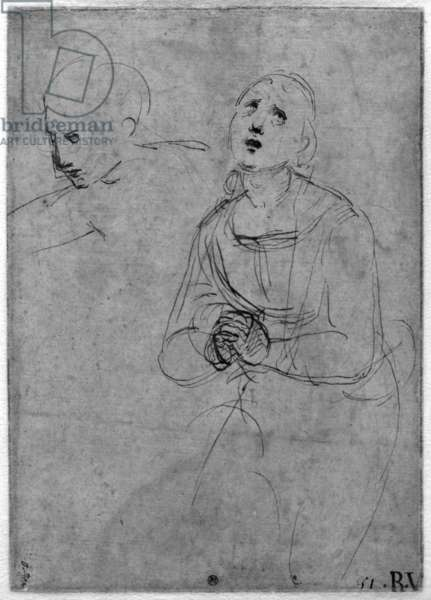 Kneeling draped female figure (recto) (pen & brown ink on paper) (b/w photo)