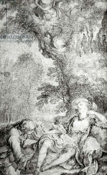 The Countryman Who Sought His Calf, from 'The Tales and Novels of La Fontaine' (graphite on paper)
