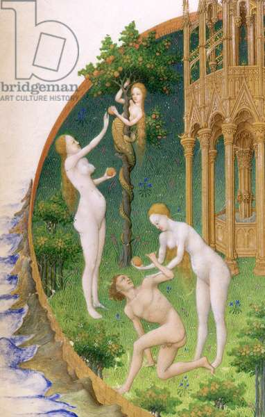 Ms 65/1284 f.25v Adam and Eve in the Garden of Eden, from the 'Tres Riches Heures du Duc de Berry' (vellum) (detail of 59148)