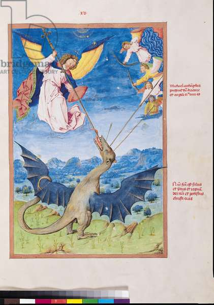 MS. 724/1596 f.15r St. Michael and the Angels fighting the dragon,  from 'Liber Floridus' by Lambert de Saint-Omer, c.1448 (vellum)