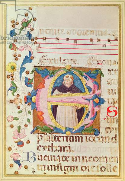 Historiated intial 'E' depicting a monk, from a Book of Hours (vellum)