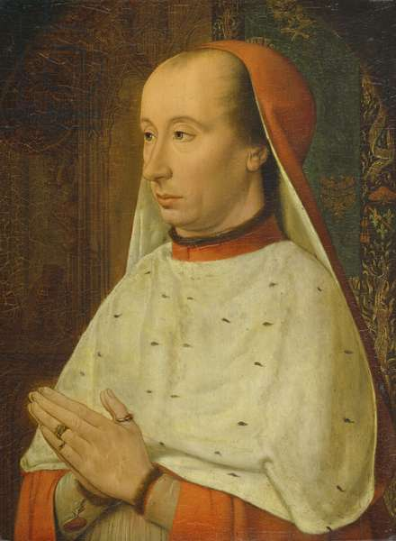 Cardinal Charles de Bourbon (1434-88) copy of an original by Jean Hey, Master of Moulins (fl.1483-c.1529) (oil on panel)