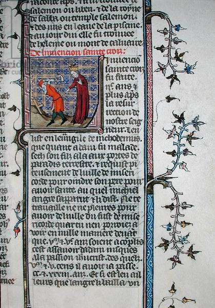 Ms 735/1335 fol.133 The Discovery of the True Cross, from 'The Golden Legend' by Jacopo da Voragine (c.1230-98) (vellum)