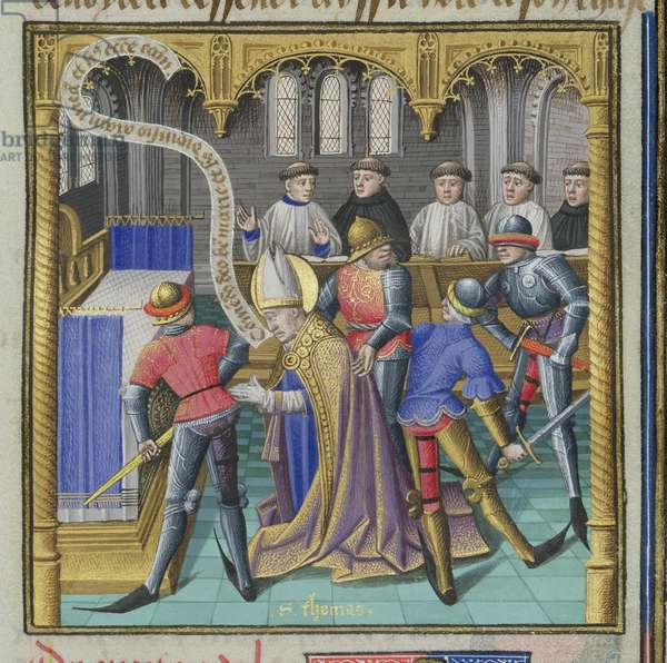 Ms 722/1196 fol.347r The Martyrdom of St. Thomas a Becket (1118-70) in Canterbury Cathedral, from Le Miroir Historial, by Vincent de Beauvais (vellum)