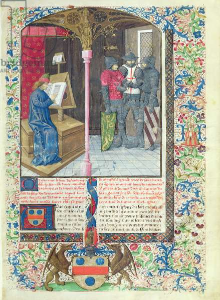 Ms 645-647/315-317 t.1 fol.1 The Author or the Translator, Tristan, Galahad and Lancelot, from the Roman de Tristan (vellum)