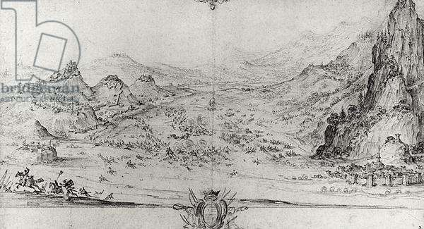 Study for 'The Battle of Avigliano', 1630 (pencil on paper) (b/w photo)