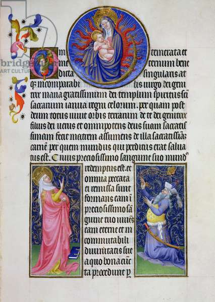 Ms 65/1284 fol.22v The Tiburtine Sibyl Showing the Virgin to the Emperor Augustus, from the Tres Riches Heures du Duc de Berry, early 15th century (vellum)
