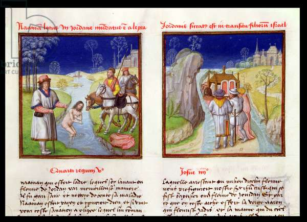 Ms 139/1363 f.14r Elijah Healing Naaman of Leprosy and the People of Israel Crossing the River Jordan under the Leadership of Joshua, from 'Le Miroir de l'Humaine Salvation' (vellum)