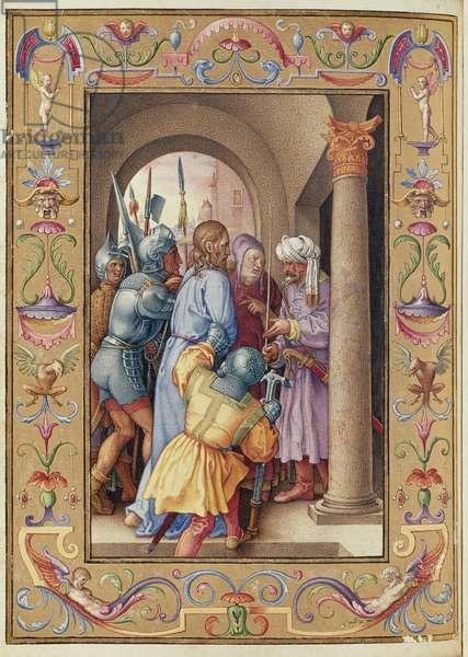 Ms 39/1601 The Arrest of Christ, from 'Passio Domini Nostri Jesu Christi Secundum Joannem' (vellum)