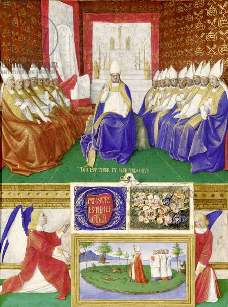 Ms Fr 71 fol.35 St. Hilary of Poitiers Presiding over a Council, from the Hours of Etienne Chevalier, c.1445 (vellum)