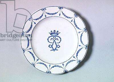 Plate from the Villers-Cotterets service with a monogram and garland of roses in blue monochrome, c.1775 (porcelain)