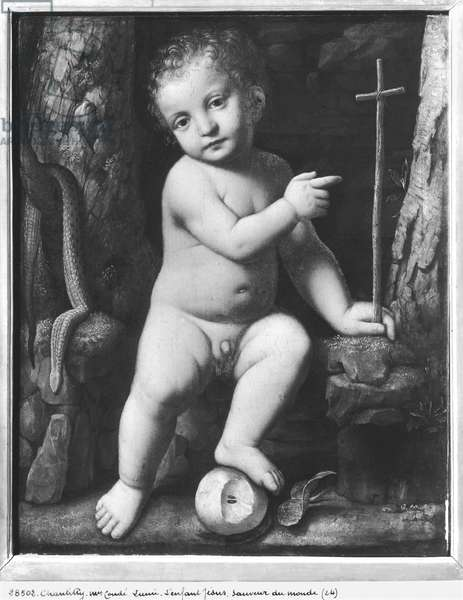 The infant Christ as saviour of the world, c.1520 (oil on panel) (b/w photo)