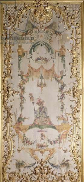 La Grande Singerie. Monkey holding a jester's rattle