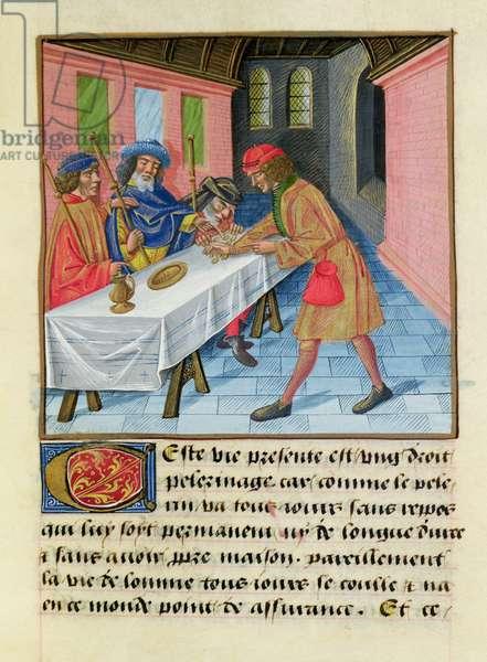 Ms 297/1338 fol.127r Pilgrims leaving their possessions, from 'Livre des Bonnes Moeurs' by Jacques le Grant (1360-1415) (vellum)