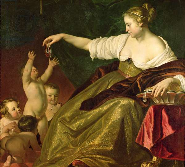 Young Woman Giving Pearls to Children (oil on canvas)