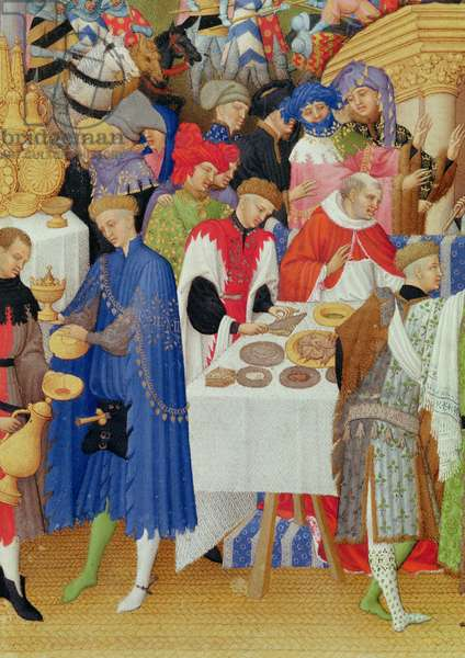 Ms 65/1284 fol.1v January: Banquet Scene, detail of the left hand side, from the Tres Riches Heures du Duc de Berry, early 15th century (vellum) (detail of 8433)