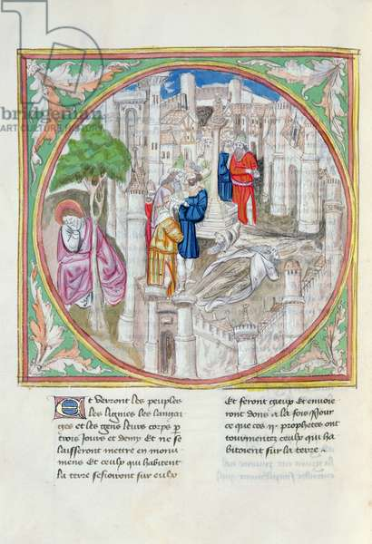 Ms. 28/1378 fol.68v The Corpses of the Two Witnesses in Sodom, from 'Histoire Extraite de la Bible et Apocalypse' (vellum)