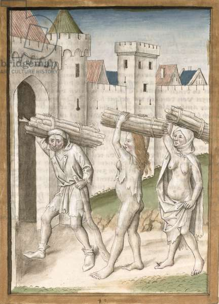 Ms 680/1389 fol.40 A man and two women carrying bundles of faggots, from 'The Fables of Bidpai', c.1480 (w/c on paper)