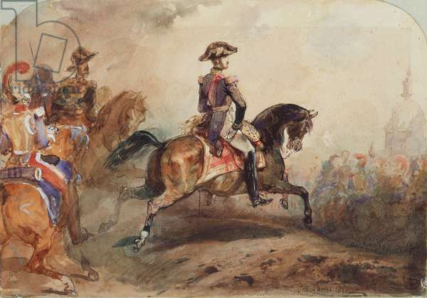Ferdinand Louis Philippe (1810-42) Duke of Orleans with his Officers, 1850 (w/c on canvas)