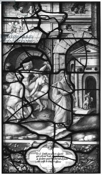 Psyche Taming Cerberus, from the Galerie de Psyche, Chateau d'Ecouen, 1542-44 (stained glass) (b/w photo)