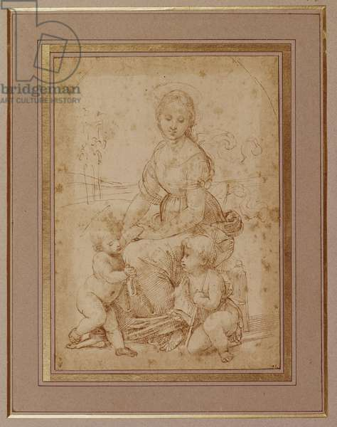 The Virgin with the Infant Christ and St. John the Baptist, after Raphael (pen & ink on paper)