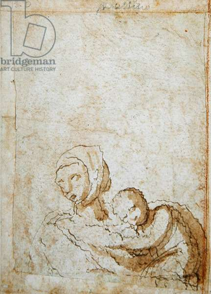 Woman with a child (pen & ink on paper) (verso of 423425)