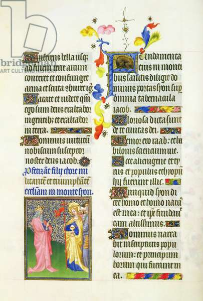 Ms 65/1284 fol. 32v David and the Church triumphant, from the Très Riches Heures du Duc de Berry (vellum)