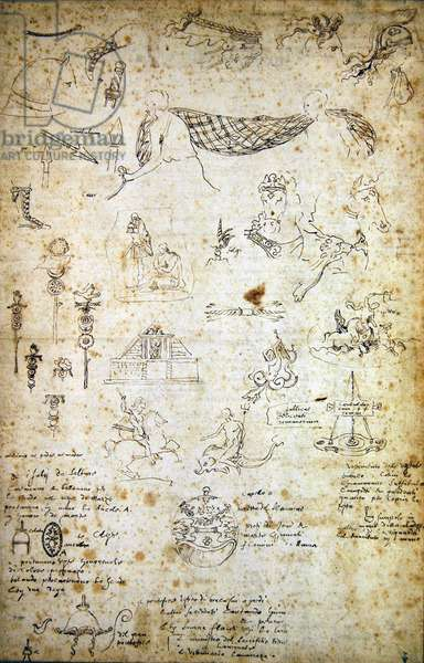 Drawings of antique classical armour, arms, costume, equipment, motifs and architectural details with notes in Italian by the artist (pen & ink on paper)