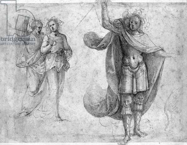 Two standing figures discussing, Archangel St. Michael wearing a large cloak and brandishing a sword, study for a wing (pen & brown ink on paper) (b/w photo)