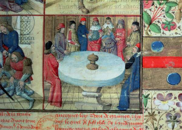 Ms 645-647/315-317 t.3 f.1 The Round Table and the Holy Grail, from the Roman de Tristan (vellum) (detail of 76196)