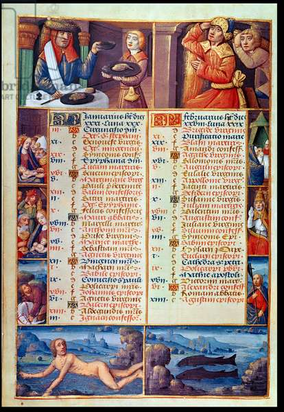 Ms 72/1119 fol.1v The Months of January and February, from a Book of Hours (vellum)