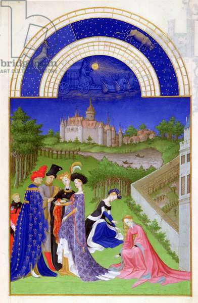 Ms 65/1284 f.4v April: courtly figures in the castle grounds, from the 'Tres Riches Heures du Duc de Berry' (vellum) (for facsimile copy see 65834)