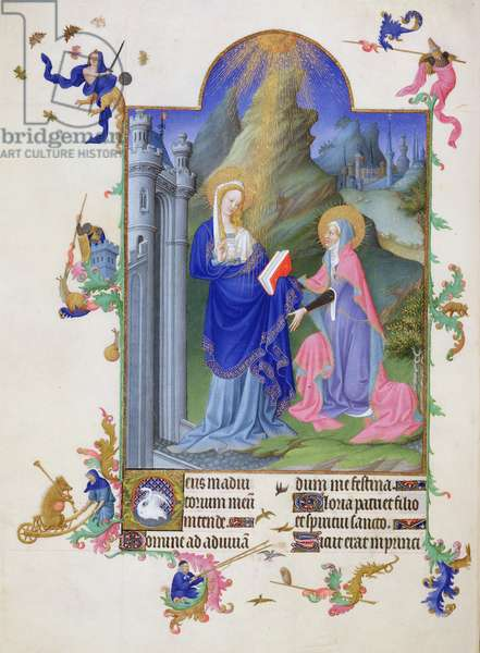 Ms 65/1284 f.38v The Visitation, from Tres Riches Heures du Duc de Berry, early 15th century (vellum)