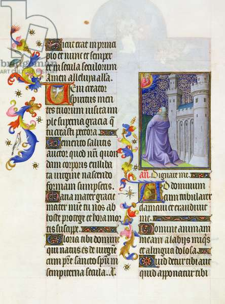 Ms. 65/1284 fol. 48 Psalm 119, The Prayer, from 'Très Riches Heures du Duc de Berry' (vellum)