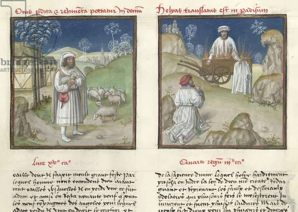 Ms 139/1363 f.35r Parable of the lost sheep and the ascension of Elijah to heaven, from 'Le Miroir de l'Humaine Salvation' (vellum)