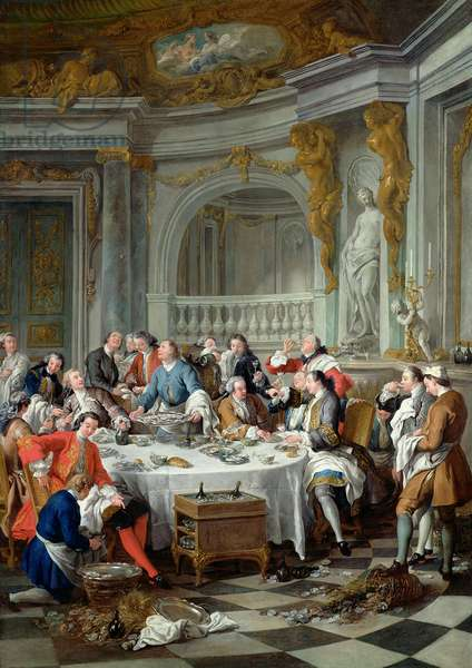The Oyster Lunch, 1735 (oil on canvas) (post restoration)