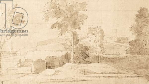 The Belvedere, study of a landscape (pen & ink wash on paper) (recto of 425247)