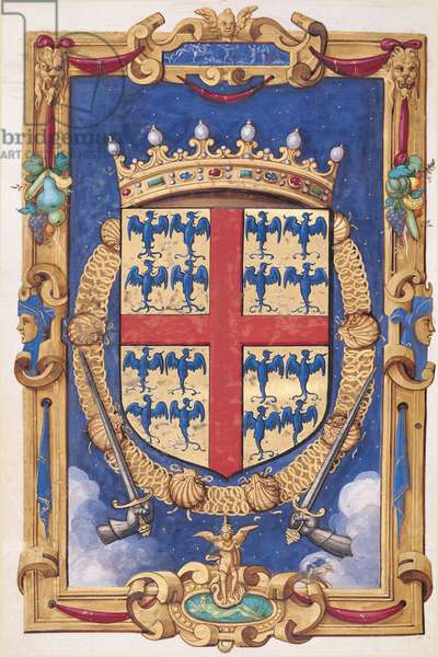 Ms 1476/1943 f.1v Coat of arms of Anne de Montmorency (1493-1567) from the 'Hours of Constable Anne de Montmorency', 1549 (vellum)