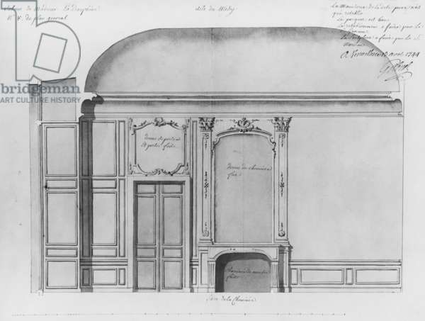 Dressing room of Dauphine Marie-Josephe de Saxe (1731-67) at Versailles, elevation of the fireplace side, south wing, April 1744 (pencil on paper)