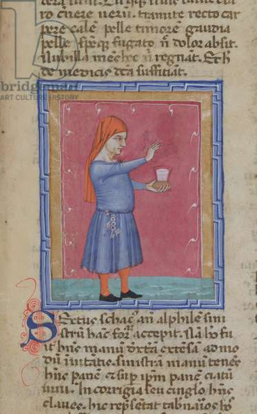 Ms 286/1075 fol.21r, A man with keys hanging from his belt, offering bread and a glass of wine, from the Latin edition of 'Libellus de Moribus' written by Jacques de Cessoles (vellum)