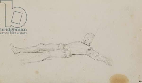 Body of Henri de Lorraine (1549-88) duc de Guise, study for 'The Assassination of the Duc de Guise', 1834 (pen & ink on paper) (see 178746)