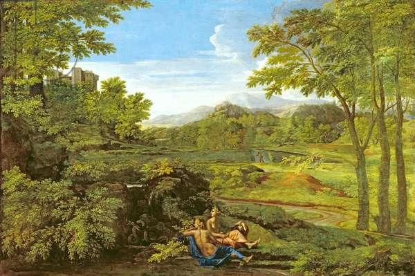 Landscape with Two Nymphs, 1659 (oil on canvas)