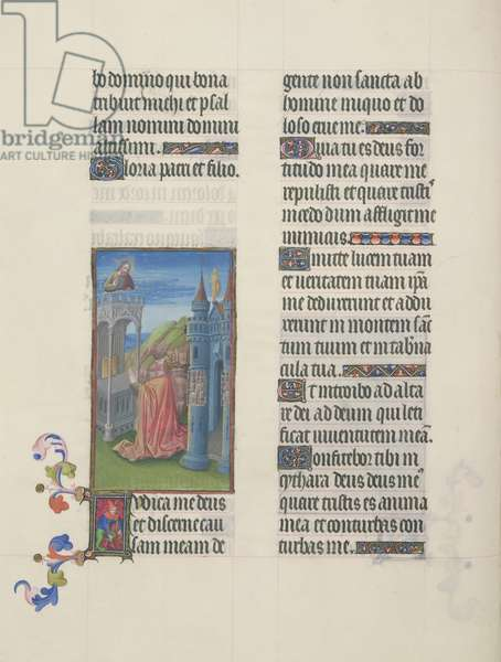 Ms. 65/1284 fol. 61v, Psalm 42, David in Prayer, from 'Très Riches Heures du Duc de Berry' (vellum)