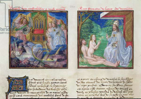 Ms 139/1363 fol.2v The Fall of the Rebel Angels and the Creation of Eve, from 'Le Miroir de l'Humaine Salvation' (vellum)